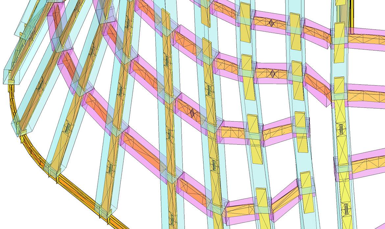 鉄骨との取り合いを3Dで検証