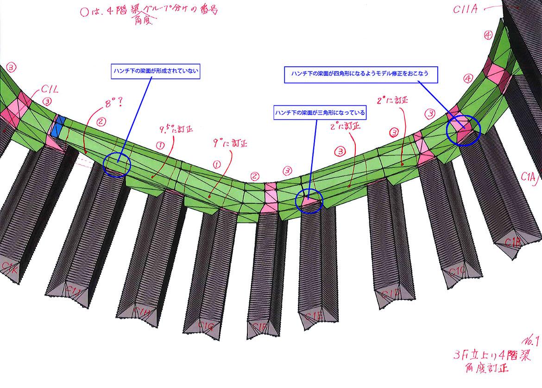 3次曲面で構成される柱に対して、梁は平面で構成されている。すべての面の展開図を抽出して型枠制作の効率化に大きく寄与した。